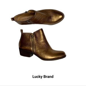 Lucky Brand Bronze Leather Ankle Booties Size 9